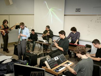 Digital music students playing in class.