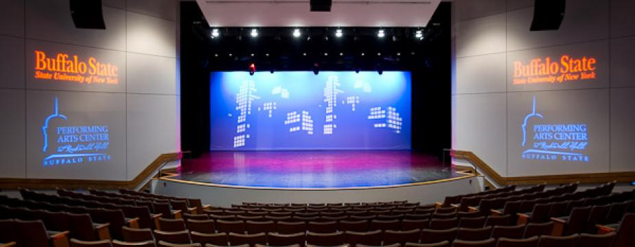 Performing Arts Center viewed from seats.