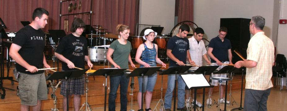 Percussion students in the Rehearsal Room